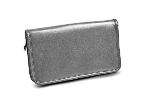 Silver Leather Zip Around Jewelry Wallet