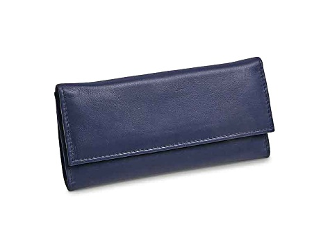 f21bc671a183 Blue Leather Slim Jewelry Wallet