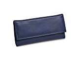 Blue Leather Slim Jewelry Wallet