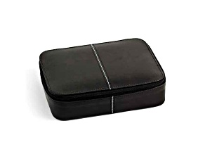 Black Leather Jewelry Box W/Zippered Closure