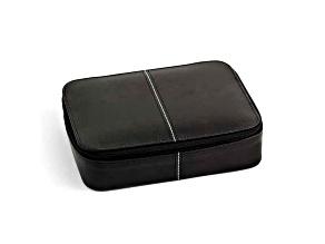Black Leather Jewelry Box W/Zippered Closure