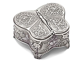 Pewter-Tone Finish Small Butterfly Jewelry Box