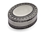 Pewter-Tone Finish Oval Floral Jewelry Box