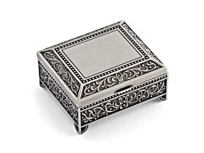 Pewter-Tone Finish Floral Square Jewelry Box