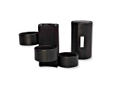 Three Level Black Leather Jewelry Roll
