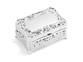 Polished Silver-Plated Floral Jewelry Box