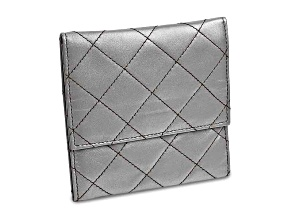 Silver Leather Quilted Jewelry Folder