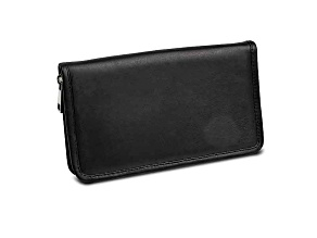 Black Leather Zip Around Jewelry Wallet