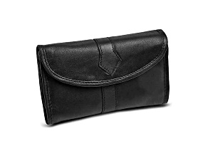 Black Leather Trifold Jewelry Clutch