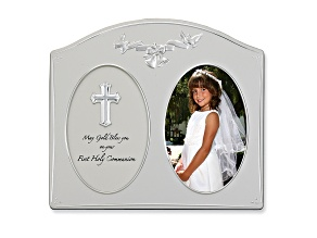 First Holy Communion Frame Holds 4 X6 Photo, Silver Tone Measures 6.5 inches Long By 8.5 inches High