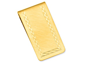 Gold-Plated With Engravable Area Florentined Money Clip