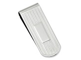 Rhodium-Plated Etched Lines Money Clip
