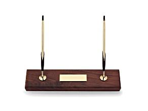 Walnut Base Double Desk Set