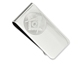 Rhodium-Plated Masonic Money Clip