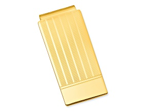 Gold-Plated Etched Lines Hinged Money Clip