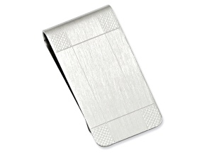 Rhodium-Plated Satin Patterned Corner Money Clip