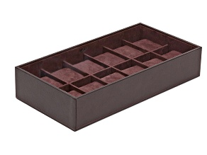 Stackable 12 Piece Watch Jewelry Tray Brown By Wolf