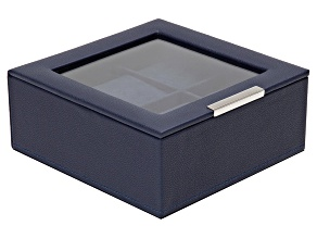 Stackable 6 Piece Watch Jewelry Tray With Lid Navy By Wolf