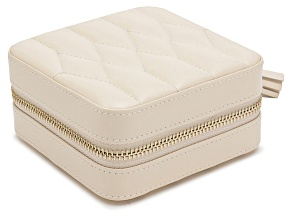 Caroline Zip Jewelry Case Ivory By Wolf