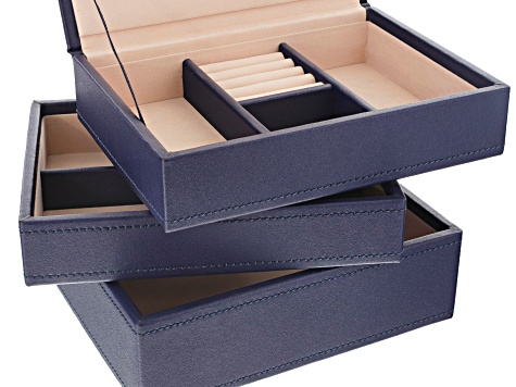 Stackables Mini Jewelry Tray Set Navy by Wolf