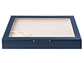 WOLF Large Ring Box with Window and LusterLoc (TM) in Navy