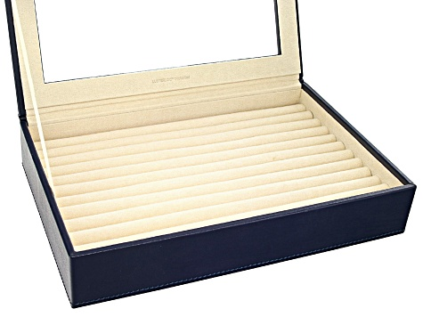 WOLF Medium Ring Box with Window and LusterLoc (TM) in Navy