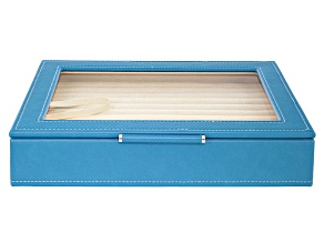 WOLF Medium Ring Box with Window and LusterLoc (TM) in Peacock Blue
