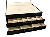 WOLF Large 3-Tier Jewelry Box with Window and LusterLoc (TM) in Black