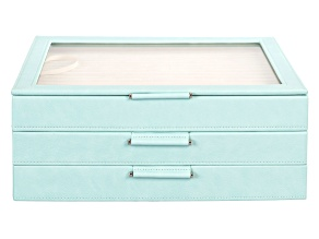 WOLF Large 3-Tier Jewelry Box with Window and LusterLoc (TM) in Aqua