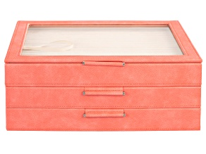 WOLF Large 3-Tier Jewelry Box with Window and LusterLoc (TM) in Coral