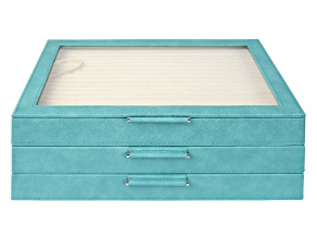 WOLF Large 3-Tier Jewelry Box with Window and LusterLoc (TM) in Turquoise