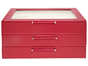 WOLF Medium Jewelry Box with Window and LusterLoc (TM) in Red