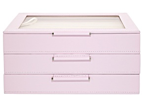 WOLF Medium Jewelry Box with Window and LusterLoc (TM) in Blush Pink