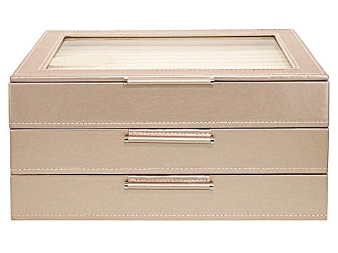 WOLF Medium Jewelry Box with Window and LusterLoc (TM) in Rose Gold