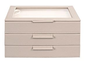 Medium 3-Tier Jewelry Box with Window and LusterLoc (TM) in Stone