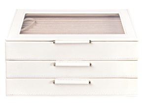 WOLF Medium Jewelry Box with Window and LusterLoc (TM) in Ivory