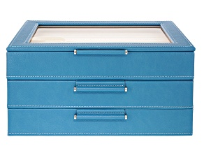 WOLF Medium 3-Tier Jewelry Box with Window and LusterLoc (TM) in Peacock Blue