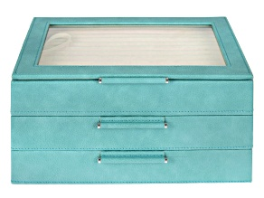 WOLF Medium 3-Tier Jewelry Box with Window and LusterLoc (TM) in Turquoise
