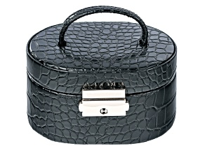 WOLF Oval Travel Jewelry Box with Handle and LusterLoc (TM) in Black Croc