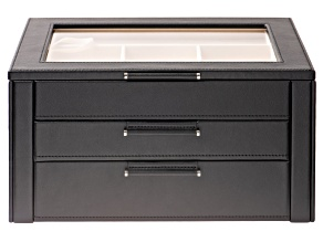 WOLF 3-Tier Jewelry Box with Window, Hanging Necklace Side Panels, and LusterLoc (TM) in Black