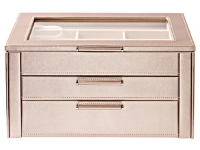 WOLF 3-Tier Jewelry Box with Window, Hanging Necklace Side Panels, and LusterLoc (TM) in Rose Gold