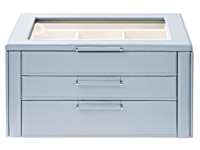 WOLF Jewelry Box with Window, Hanging Necklace Side Panels, and LusterLoc (TM) in Mid-Century Blue