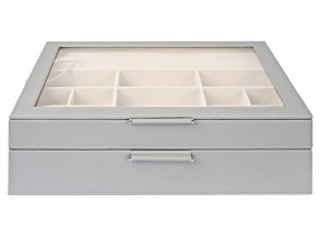 WOLF 2-Tier Jewelry Box with Window, Bangle Drawer, and LusterLoc (TM) in Stone