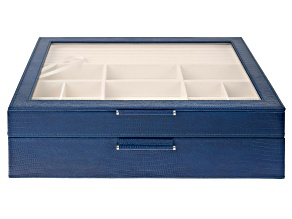 WOLF 2-Tier Jewelry Box with Window, Bangle Drawer, and LusterLoc (TM) in Navy Python