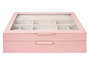 WOLF 2-Tier Jewelry Box with Window, Bangle Drawer, and LusterLoc (TM) in Powder Rose