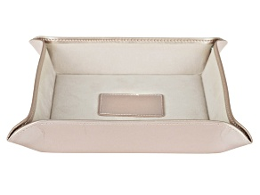 WOLF Valet Tray with Ultrasuede Lining and Snap Closure in Rose Gold