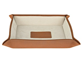 WOLF Valet Tray with Ultrasuede Lining and Snap Closure in Saddle Brown