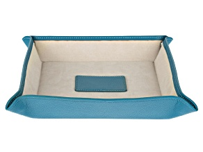 WOLF Valet Tray with Ultrasuede Lining and Snap Closure in Peacock Blue