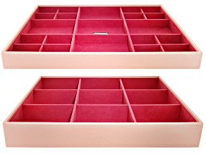 Stackables Large Jewelry Tray Set Blush by Wolf Includes Standard and Deep Tray