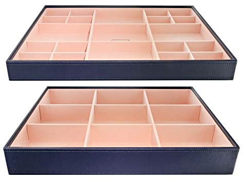Stackables Large Jewelry Tray Set Navy by Wolf Includes Standard and Deep Tray